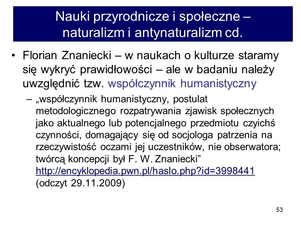 53 Nauki przyrodnicze i społeczne – naturalizm i antynaturalizm cd.