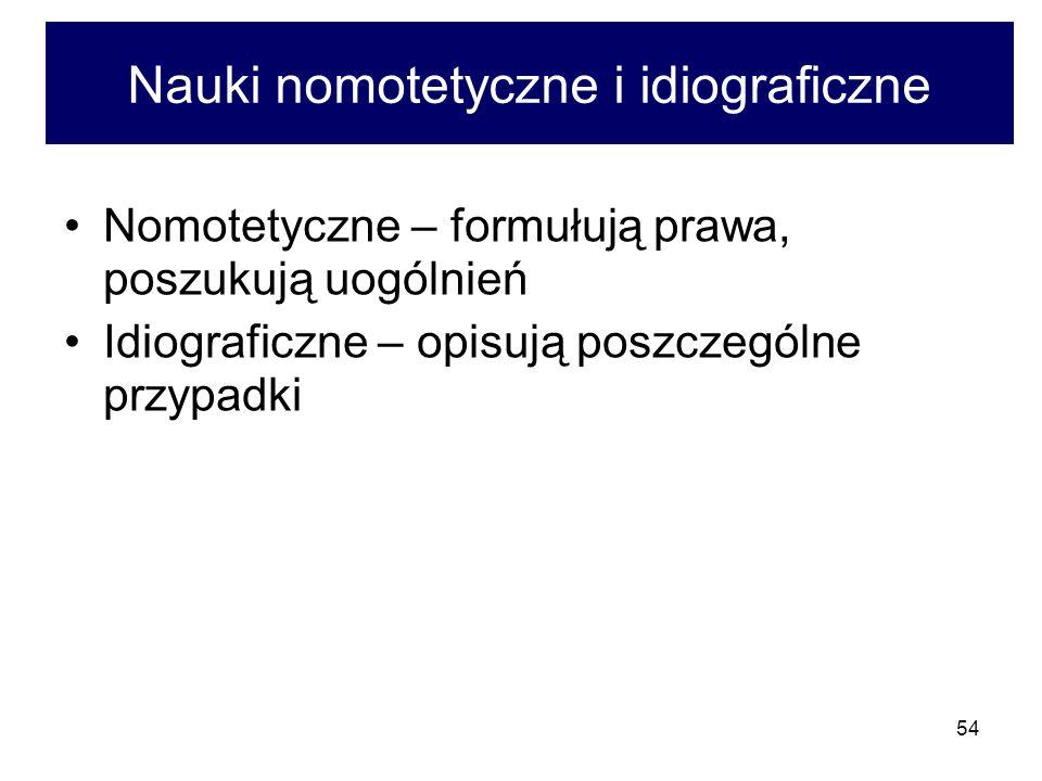 54 Nauki nomotetyczne i idiograficzne Nomotetyczne – formułują prawa, poszukują uogólnień Idiograficzne – opisują poszczególne przypadki