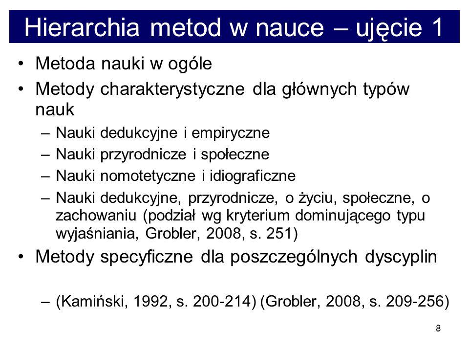 9 Hierarchia metod w nauce – ujęcie 2 Ogólnonaukowe postulaty metodologiczne, w tym – postulaty falsyfikowalności, sprawdzalności, prostoty, rzetelnego uzasadniania Metateorie, paradygmaty, podejścia, ramy pojęciowe – a zwłaszcza wynikające z nich specyficzne postulaty metodologiczne Strategie badawcze, w tym – (a) strategie teorii przed badaniami i badań przed teorią (Frankfort-Nachmias, Nachmias, 2001, s.