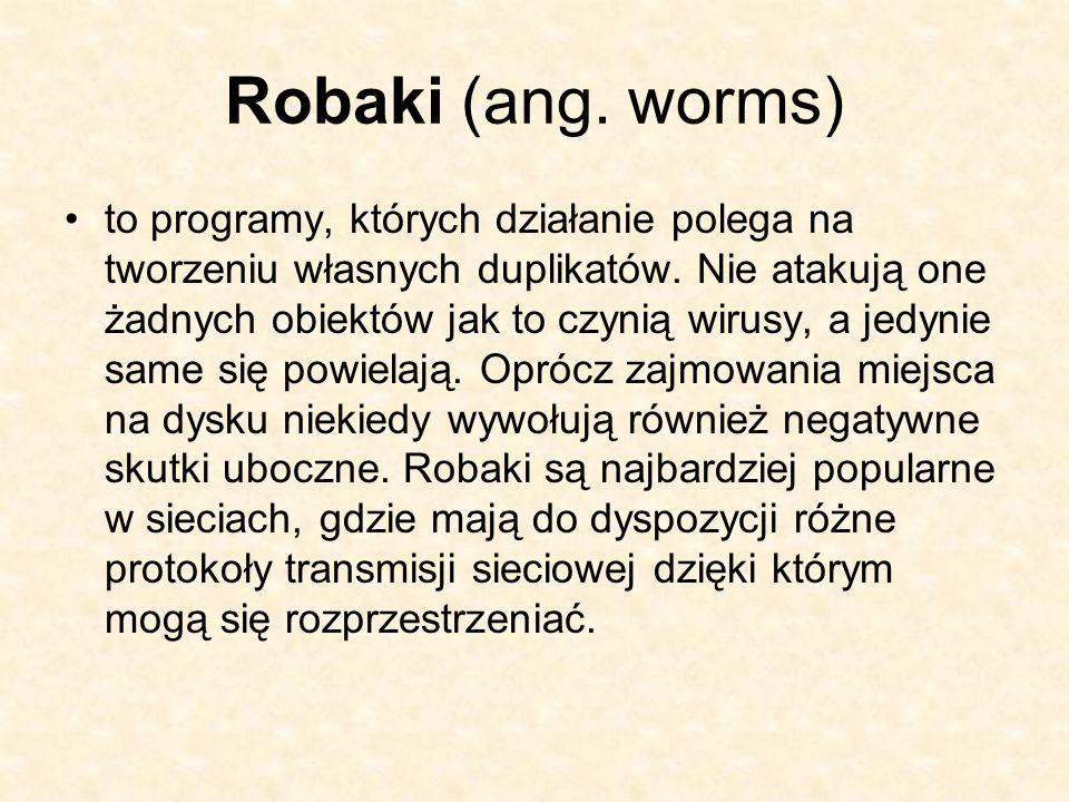 Robaki (ang. worms) to programy, których działanie polega na tworzeniu własnych duplikatów. Nie atakują one żadnych obiektów jak to czynią wirusy, a j