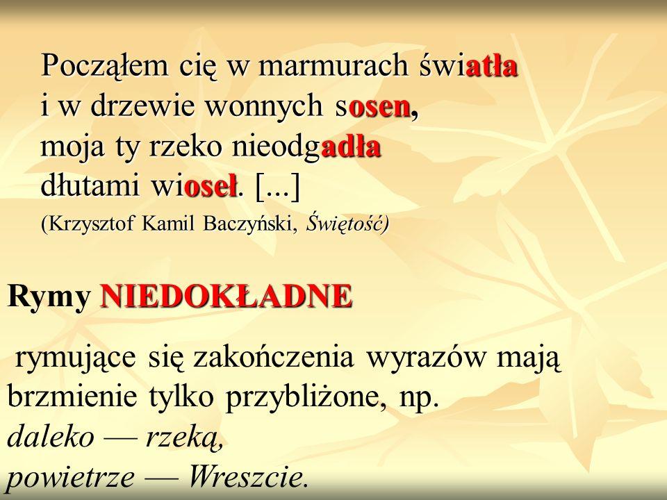 Począłem cię w marmurach światła i w drzewie wonnych sosen, moja ty rzeko nieodgadła dłutami wioseł. [...] (Krzysztof Kamil Baczyński, Świętość) NIEDO