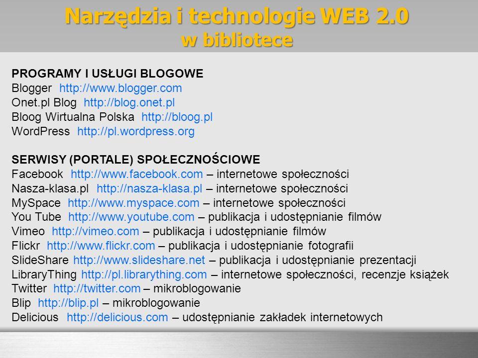 Narzędzia i technologie WEB 2.0 w bibliotece PROGRAMY I USŁUGI BLOGOWE Blogger http://www.blogger.com Onet.pl Blog http://blog.onet.pl Bloog Wirtualna