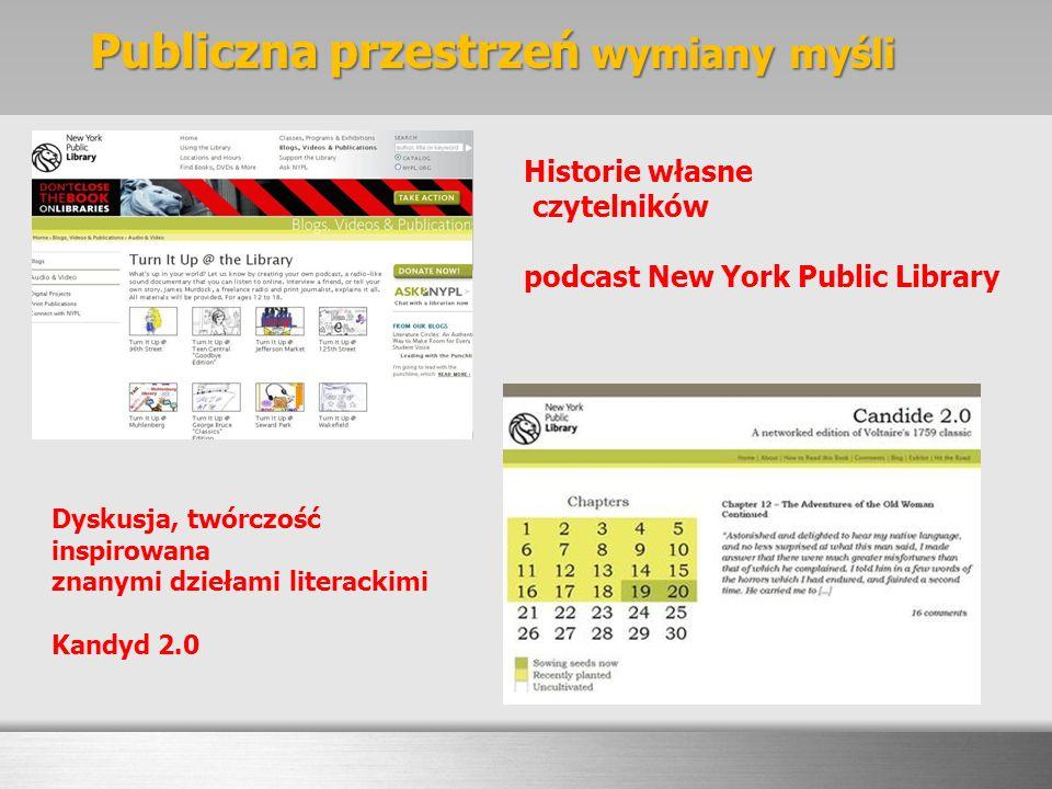 Historie własne czytelników podcast New York Public Library Dyskusja, twórczość inspirowana znanymi dziełami literackimi Kandyd 2.0 Publiczna przestrz