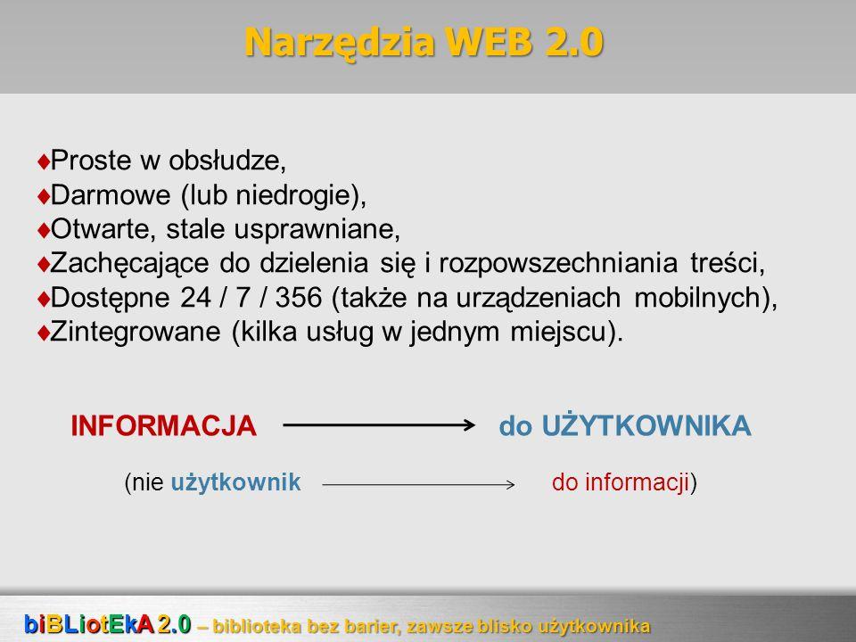 Narzędzia WEB 2.0 Proste w obsłudze, Darmowe (lub niedrogie), Otwarte, stale usprawniane, Zachęcające do dzielenia się i rozpowszechniania treści, Dos
