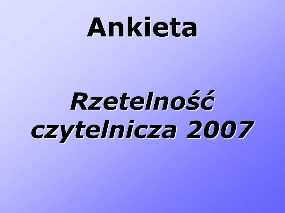 Ankieta Rzetelność czytelnicza 2007