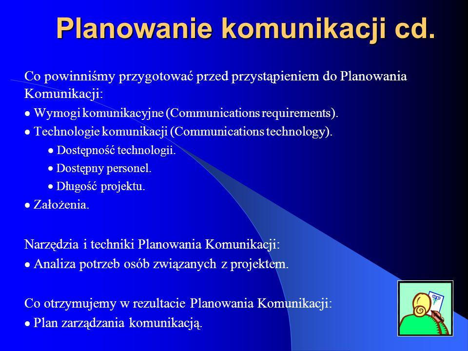 Planowanie komunikacji cd. Co powinniśmy przygotować przed przystąpieniem do Planowania Komunikacji: Wymogi komunikacyjne (Communications requirements