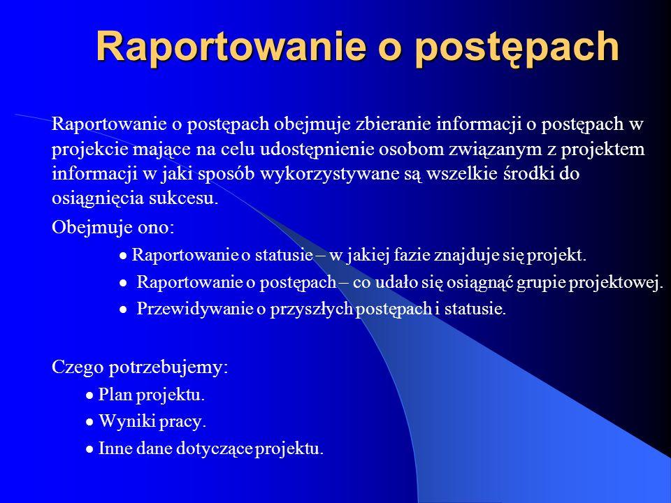 Raportowanie o postępach Raportowanie o postępach obejmuje zbieranie informacji o postępach w projekcie mające na celu udostępnienie osobom związanym