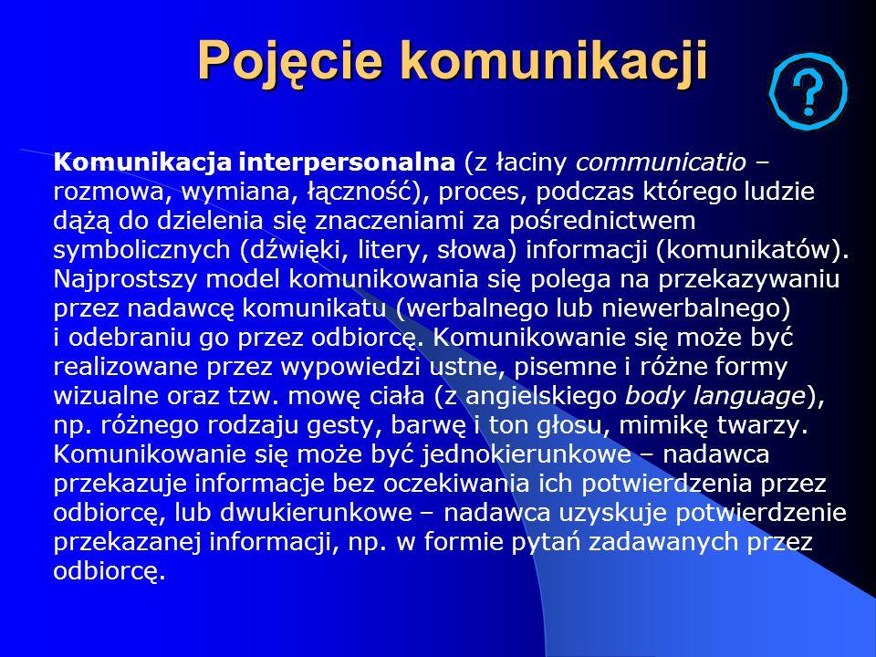 Pojęcie komunikacji Komunikacja interpersonalna (z łaciny communicatio – rozmowa, wymiana, łączność), proces, podczas którego ludzie dążą do dzielenia
