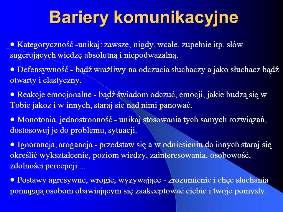 Bariery komunikacyjne Kategoryczność -unikaj: zawsze, nigdy, wcale, zupełnie itp. słów sugerujących wiedzę absolutną i niepodważalną. Defensywność - b