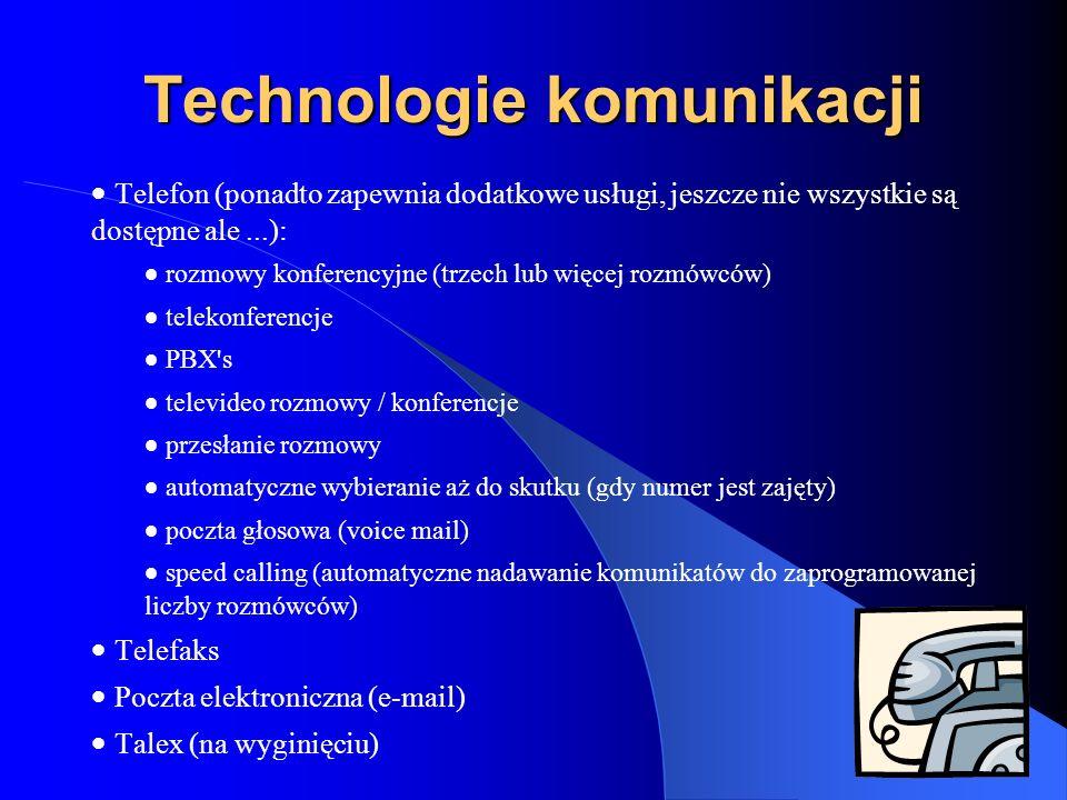 Technologie komunikacji Telefon (ponadto zapewnia dodatkowe usługi, jeszcze nie wszystkie są dostępne ale...): rozmowy konferencyjne (trzech lub więce