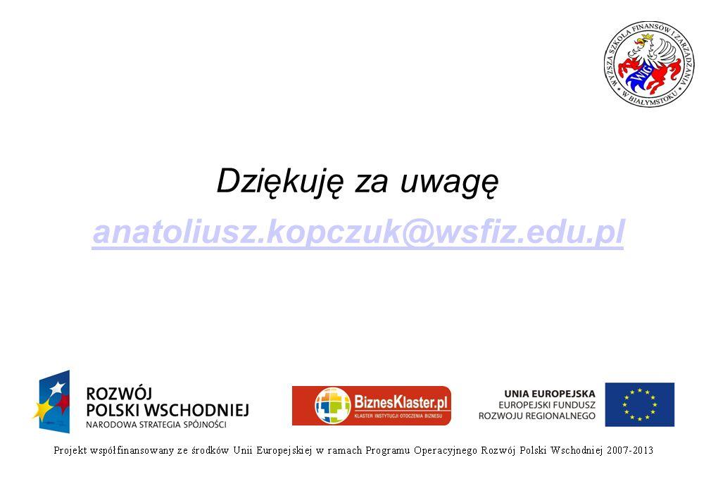 Dziękuję za uwagę anatoliusz.kopczuk@wsfiz.edu.pl