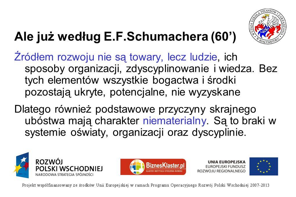 Ale już według E.F.Schumachera (60) Źródłem rozwoju nie są towary, lecz ludzie, ich sposoby organizacji, zdyscyplinowanie i wiedza. Bez tych elementów