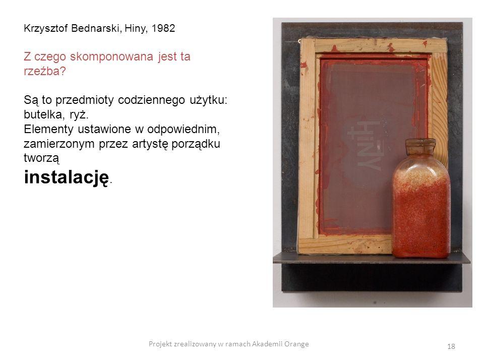 Projekt zrealizowany w ramach Akademii Orange 18 Krzysztof Bednarski, Hiny, 1982 Z czego skomponowana jest ta rzeźba? Są to przedmioty codziennego uży