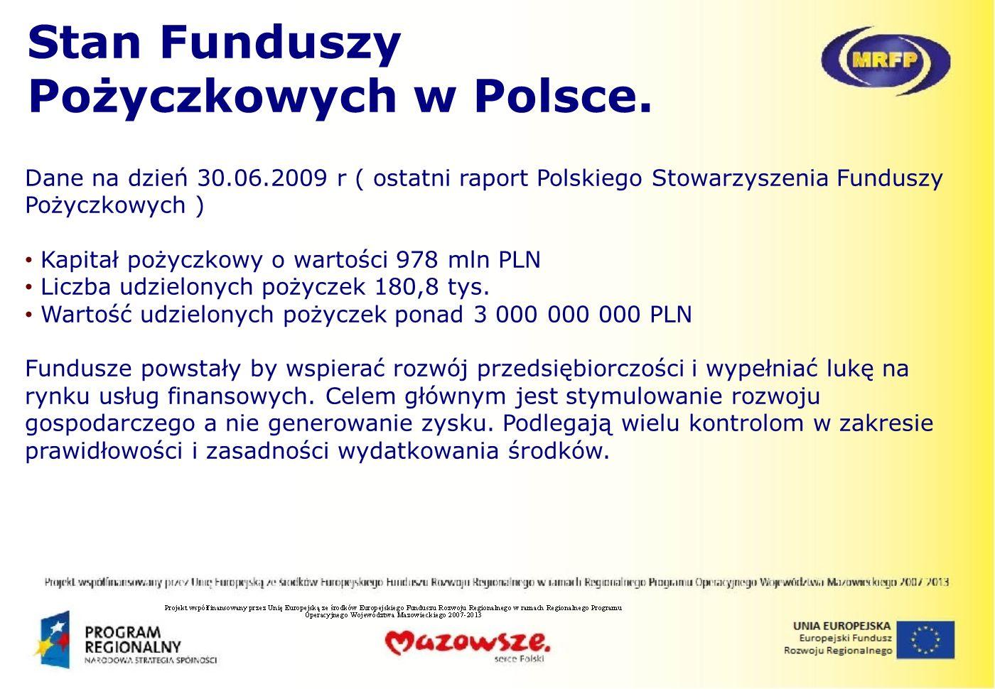 Stan Funduszy Pożyczkowych w Polsce. Dane na dzień 30.06.2009 r ( ostatni raport Polskiego Stowarzyszenia Funduszy Pożyczkowych ) Kapitał pożyczkowy o