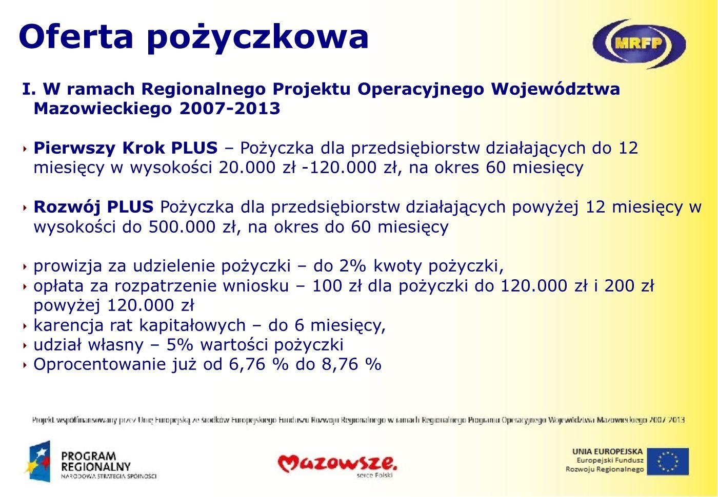 I. W ramach Regionalnego Projektu Operacyjnego Województwa Mazowieckiego 2007-2013 Pierwszy Krok PLUS – Pożyczka dla przedsiębiorstw działających do 1
