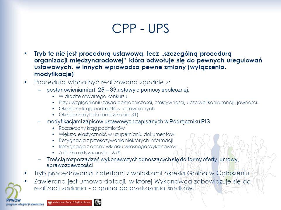 CPP - UPS Tryb te nie jest procedurą ustawową, lecz szczególną procedurą organizacji międzynarodowej która odwołuje się do pewnych uregulowań ustawowy