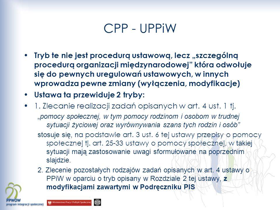 CPP - UPPiW Tryb te nie jest procedurą ustawową, lecz szczególną procedurą organizacji międzynarodowej która odwołuje się do pewnych uregulowań ustawo