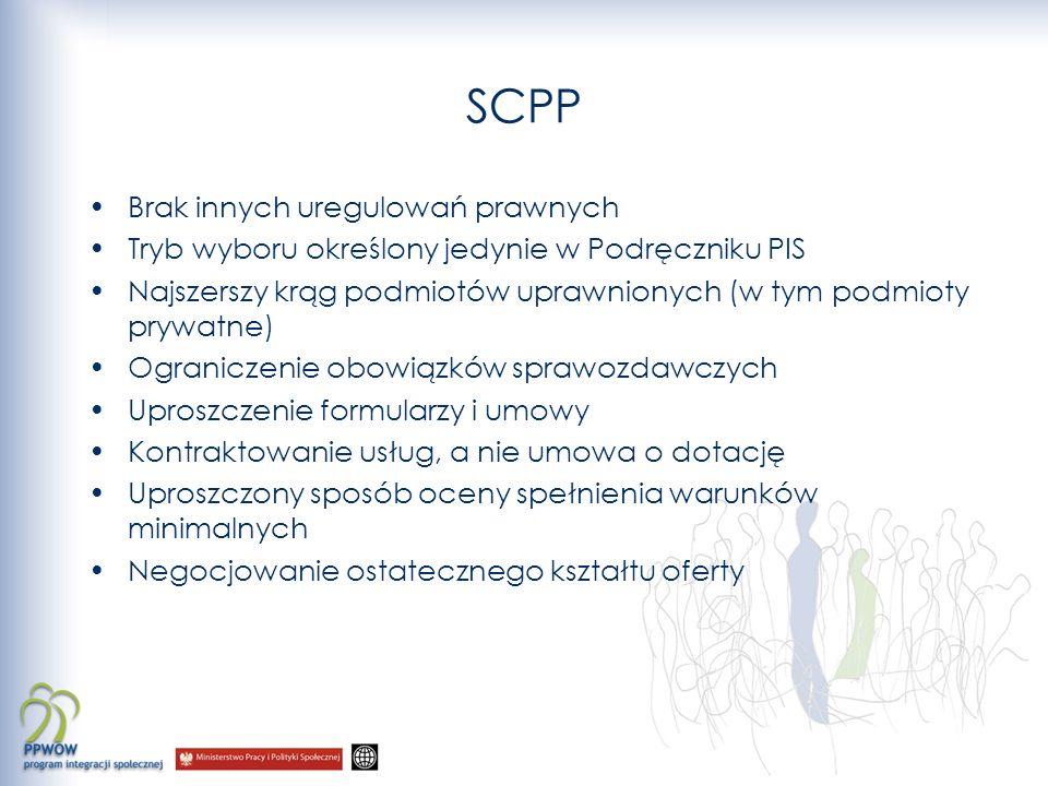 SCPP Brak innych uregulowań prawnych Tryb wyboru określony jedynie w Podręczniku PIS Najszerszy krąg podmiotów uprawnionych (w tym podmioty prywatne)