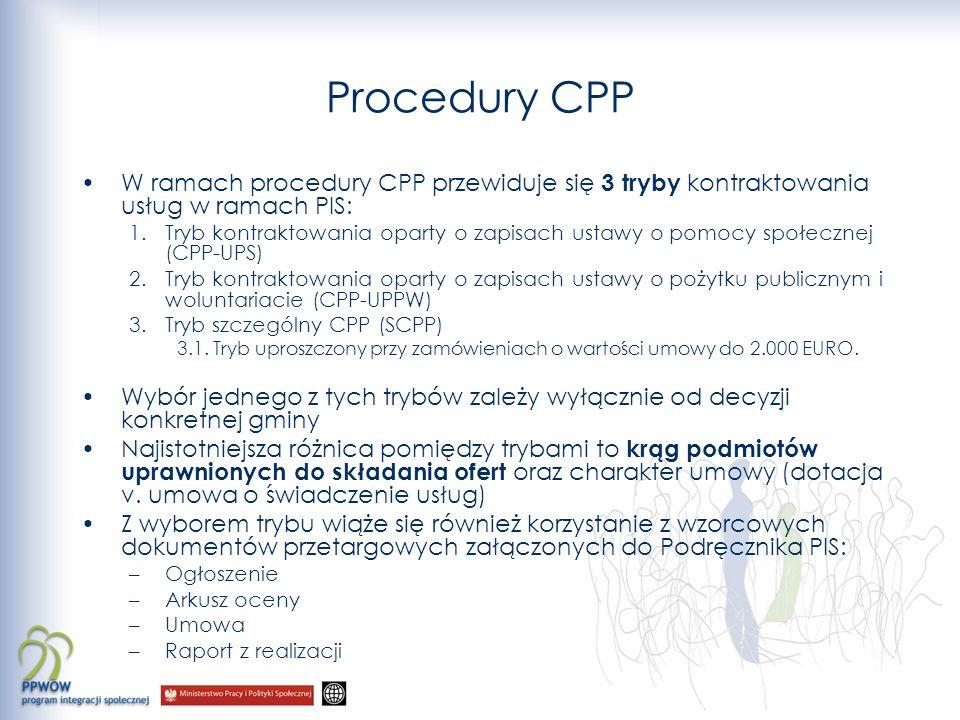 Procedury CPP W ramach procedury CPP przewiduje się 3 tryby kontraktowania usług w ramach PIS: 1.Tryb kontraktowania oparty o zapisach ustawy o pomocy
