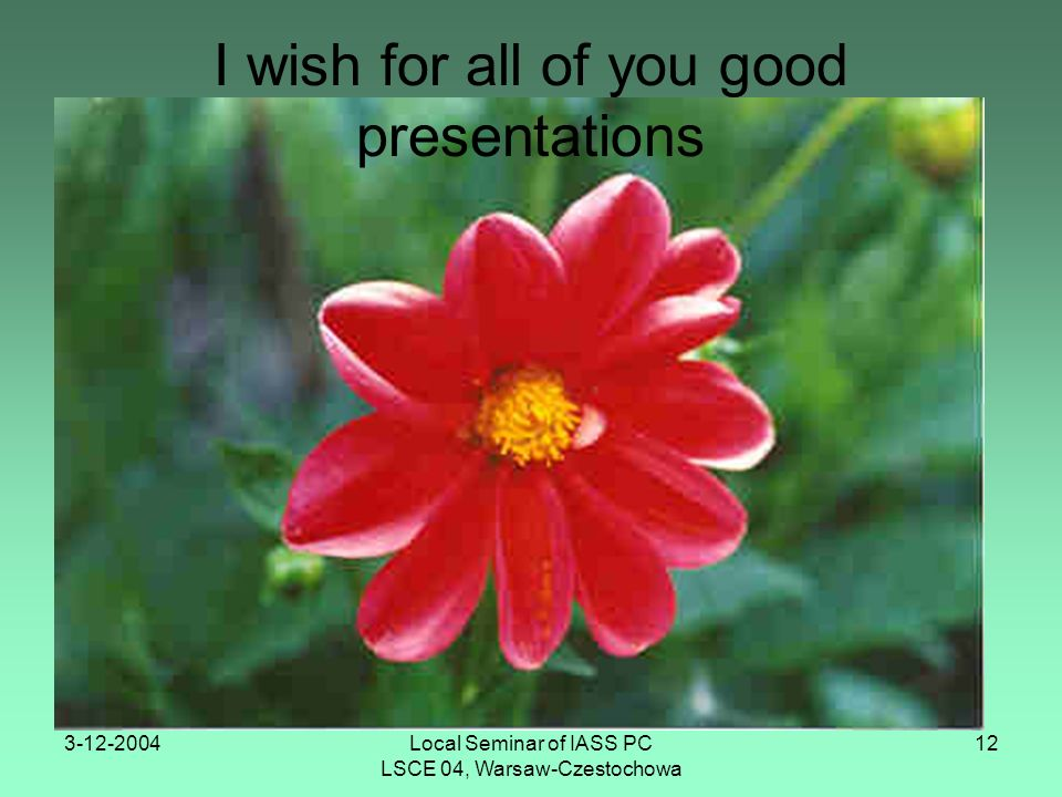 3-12-2004Local Seminar of IASS PC LSCE 04, Warsaw-Czestochowa 12 I wish for all of you good presentations