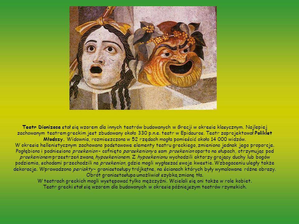 Teatr Dionizosa stał się wzorem dla innych teatrów budowanych w Grecji w okresie klasycznym. Najlepiej zachowanym teatrem greckim jest zbudowany około