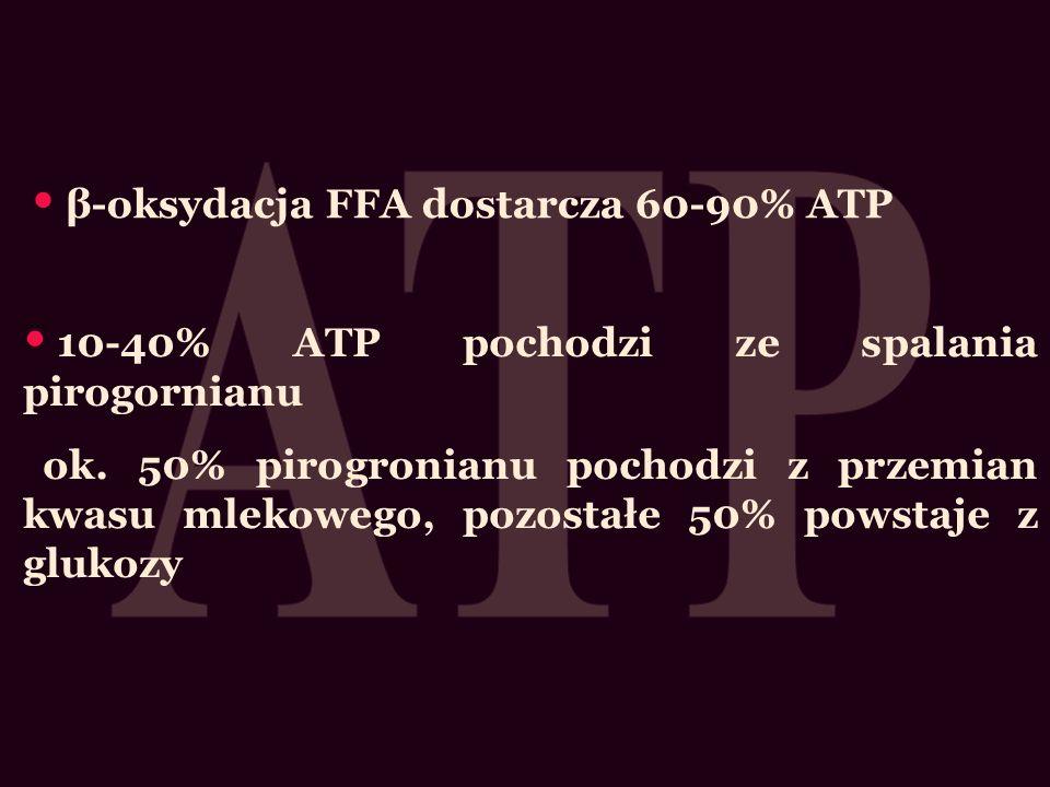 β-oksydacja FFA dostarcza 60-90% ATP 10-40% ATP pochodzi ze spalania pirogornianu ok. 50% pirogronianu pochodzi z przemian kwasu mlekowego, pozostałe