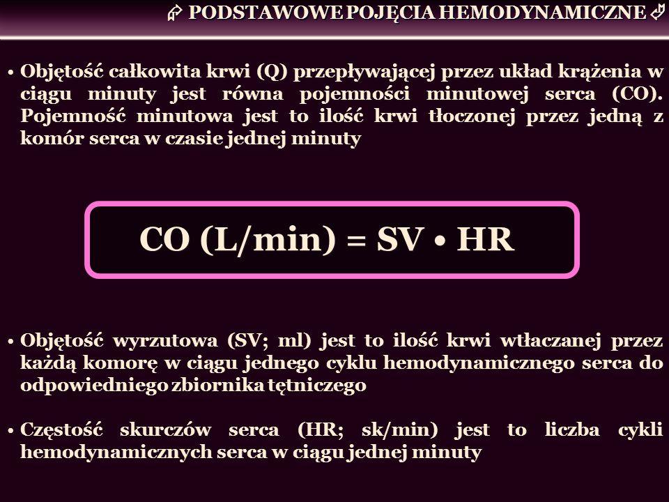 Objętość całkowita krwi (Q) przepływającej przez układ krążenia w ciągu minuty jest równa pojemności minutowej serca (CO). Pojemność minutowa jest to