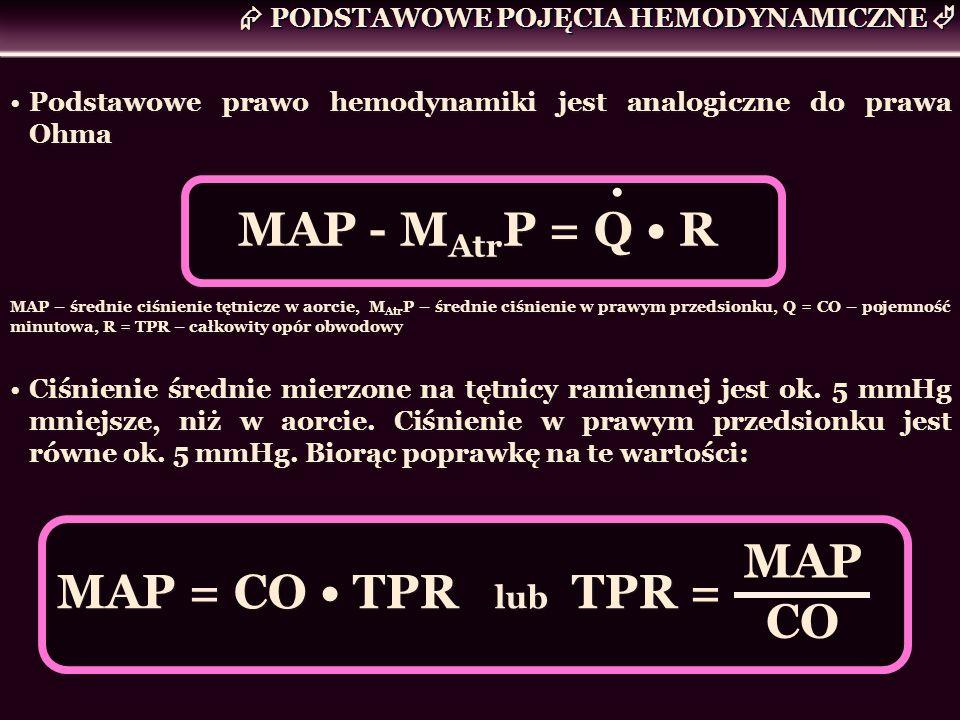 Podstawowe prawo hemodynamiki jest analogiczne do prawa Ohma MAP - M Atr P = Q R MAP – średnie ciśnienie tętnicze w aorcie, M Atr P – średnie ciśnieni