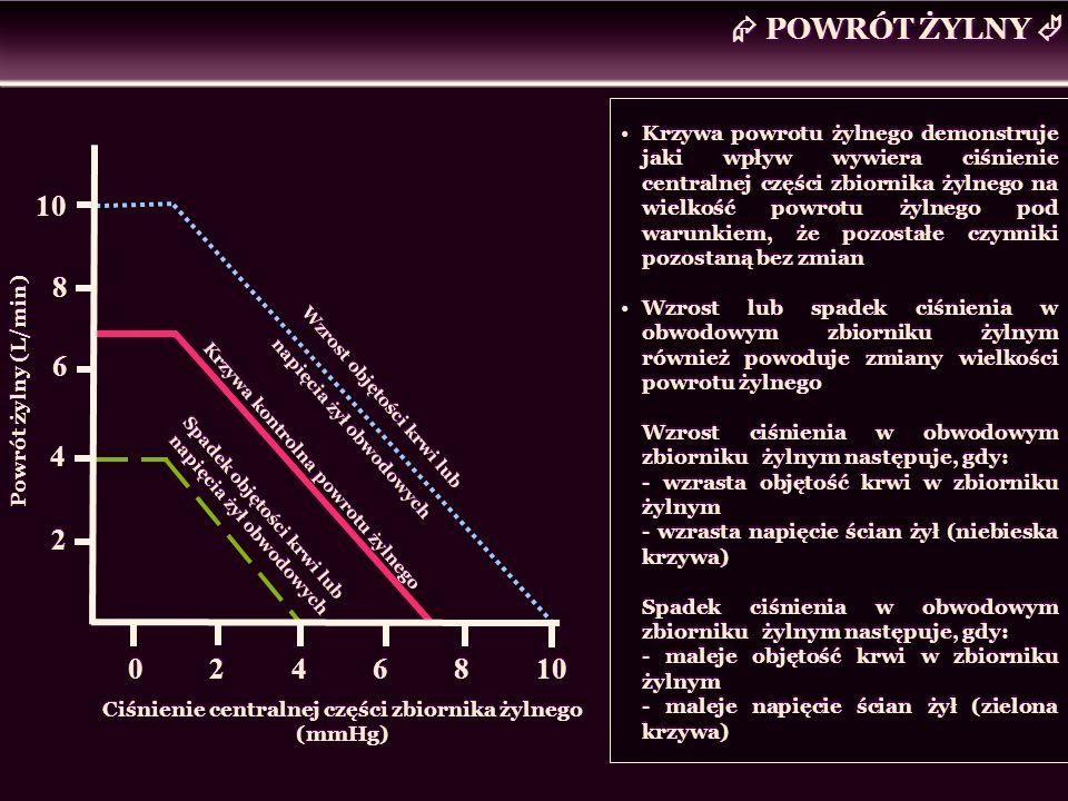 POWRÓT ŻYLNY Powrót żylny (L/min) Ciśnienie centralnej części zbiornika żylnego (mmHg) 0 2 4 6 8 10 10 8 8 6 6 4 4 2 2 Krzywa kontrolna powrotu żylneg