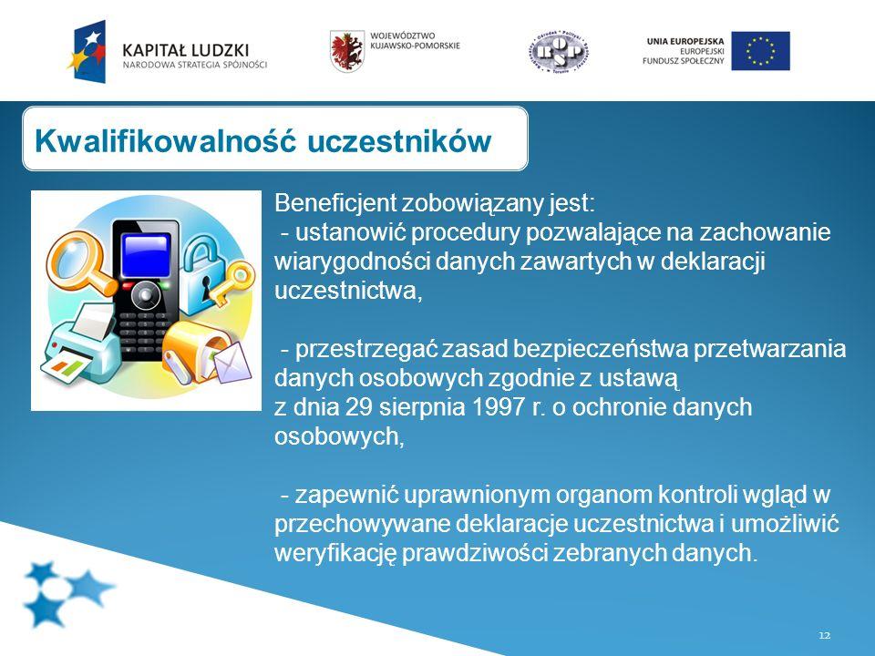 12 Beneficjent zobowiązany jest: - ustanowić procedury pozwalające na zachowanie wiarygodności danych zawartych w deklaracji uczestnictwa, - przestrzegać zasad bezpieczeństwa przetwarzania danych osobowych zgodnie z ustawą z dnia 29 sierpnia 1997 r.
