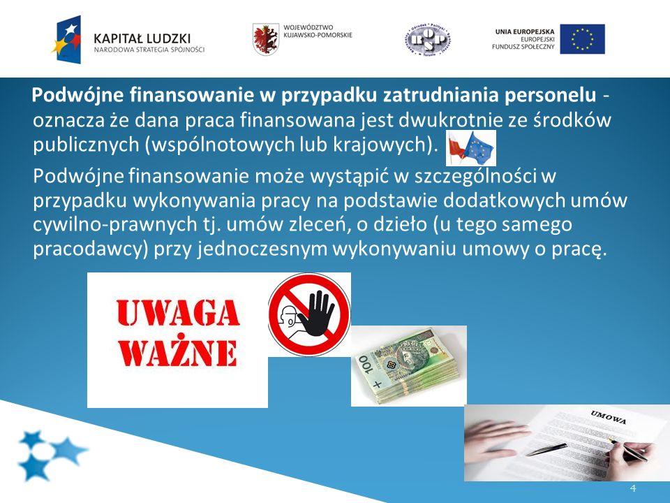 4 Podwójne finansowanie w przypadku zatrudniania personelu - oznacza że dana praca finansowana jest dwukrotnie ze środków publicznych (wspólnotowych l