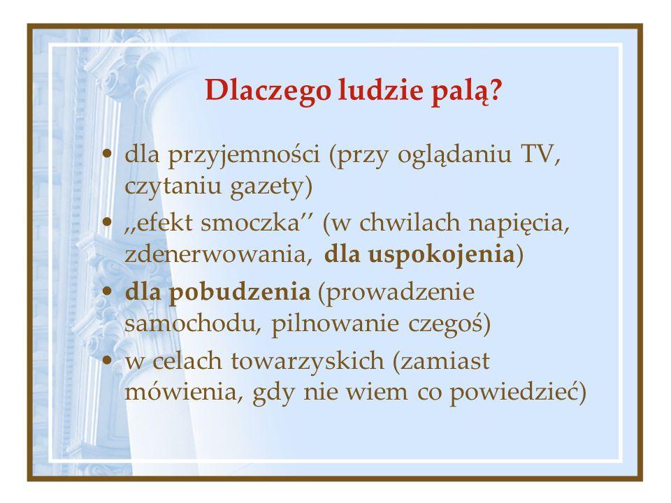 Dlaczego ludzie palą? dla przyjemności (przy oglądaniu TV, czytaniu gazety),,efekt smoczka (w chwilach napięcia, zdenerwowania, dla uspokojenia) dla p