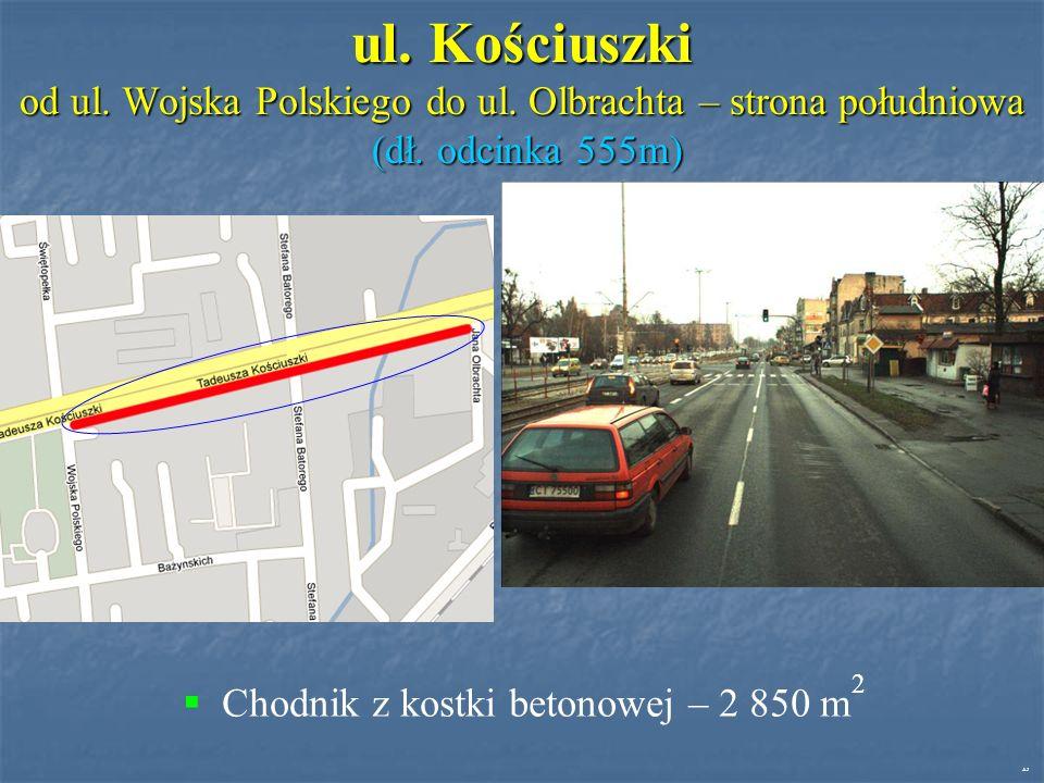 ul. Kościuszki od ul. Wojska Polskiego do ul. Olbrachta – strona południowa (dł.