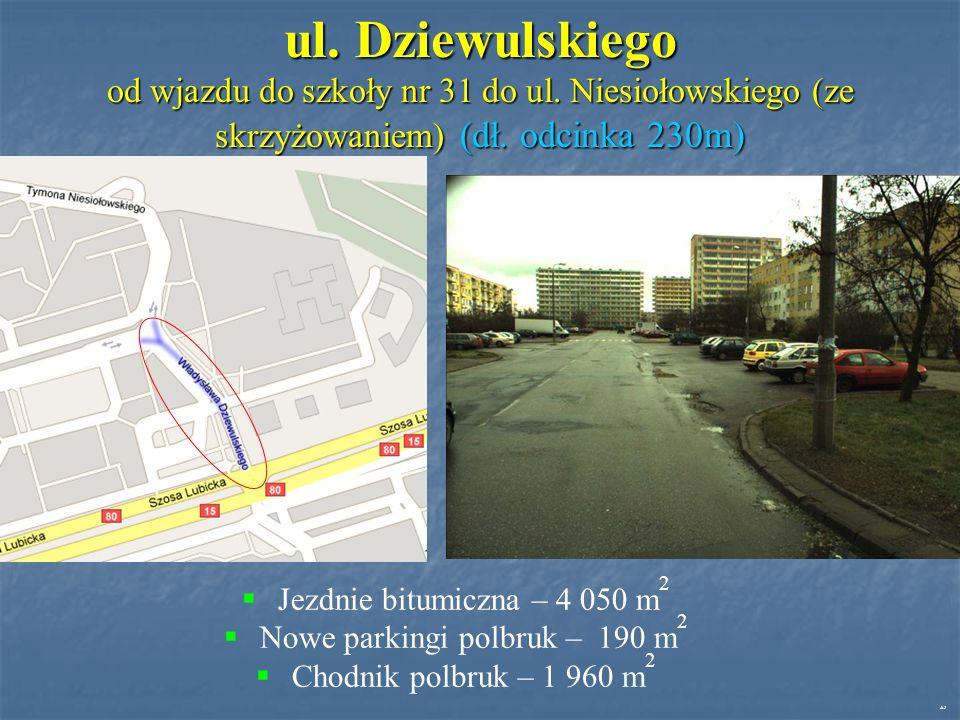 ul. Dziewulskiego od wjazdu do szkoły nr 31 do ul.