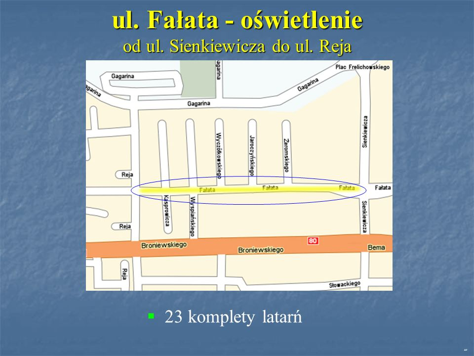 ul. Fałata - oświetlenie od ul. Sienkiewicza do ul. Reja 23 komplety latarń AJ