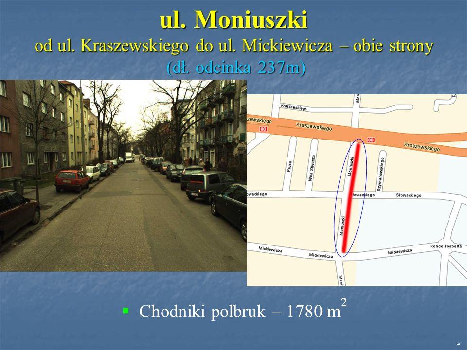 ul. Moniuszki od ul. Kraszewskiego do ul. Mickiewicza – obie strony (dł.
