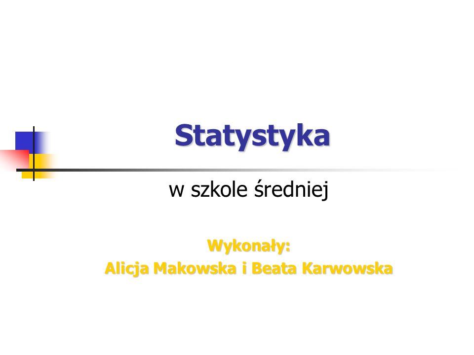 Statystyka w szkole średniejWykonały: Alicja Makowska i Beata Karwowska