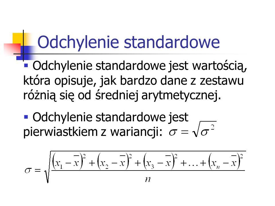 Wariancja Wariancją n danych liczbowych o średniej arytmetycznej nazywamy liczbę