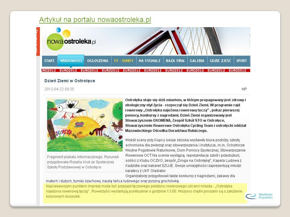 Artykuł na portalu nowaostroleka.pl