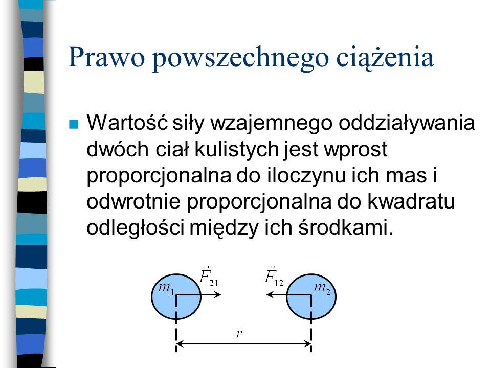 Prawo powszechnego ciążenia n Wartość siły wzajemnego oddziaływania dwóch ciał kulistych jest wprost proporcjonalna do iloczynu ich mas i odwrotnie pr