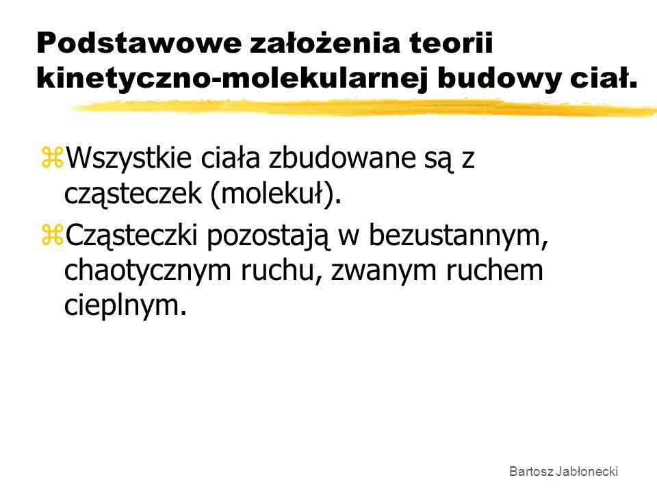 Bartosz Jabłonecki Podstawowe założenia teorii kinetyczno-molekularnej budowy ciał. zWszystkie ciała zbudowane są z cząsteczek (molekuł). zCząsteczki