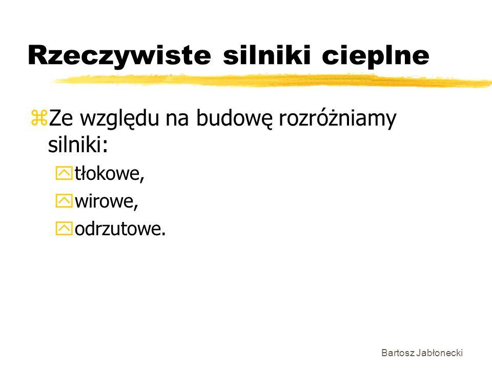Bartosz Jabłonecki Rzeczywiste silniki cieplne zZe względu na budowę rozróżniamy silniki: ytłokowe, ywirowe, yodrzutowe.