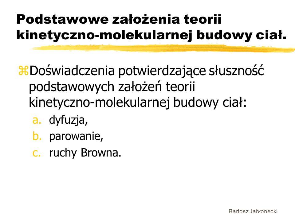 Bartosz Jabłonecki Podstawowe założenia teorii kinetyczno-molekularnej budowy ciał. zDoświadczenia potwierdzające słuszność podstawowych założeń teori
