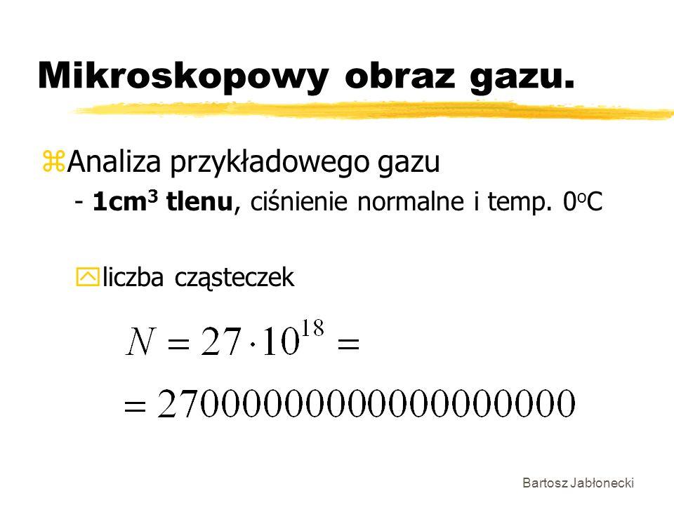 Bartosz Jabłonecki Mikroskopowy obraz gazu. zAnaliza przykładowego gazu - 1cm 3 tlenu, ciśnienie normalne i temp. 0 o C yliczba cząsteczek