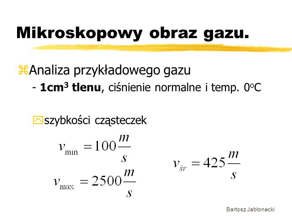 Bartosz Jabłonecki Mikroskopowy obraz gazu. zAnaliza przykładowego gazu - 1cm 3 tlenu, ciśnienie normalne i temp. 0 o C yszybkości cząsteczek