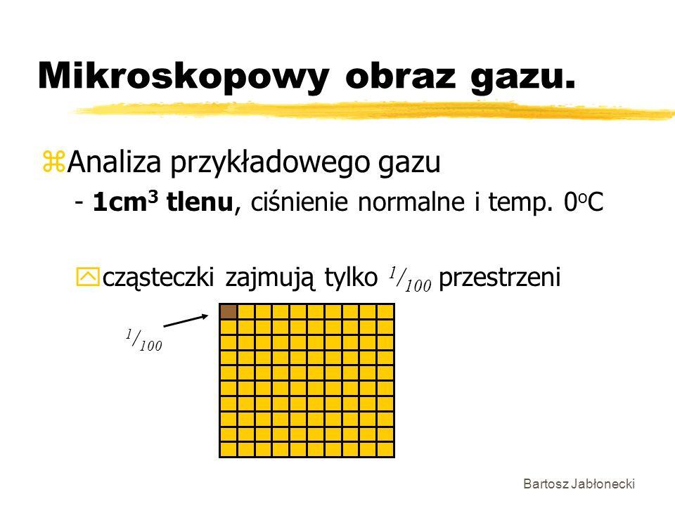 Bartosz Jabłonecki Mikroskopowy obraz gazu. zAnaliza przykładowego gazu - 1cm 3 tlenu, ciśnienie normalne i temp. 0 o C cząsteczki zajmują tylko 1 / 1
