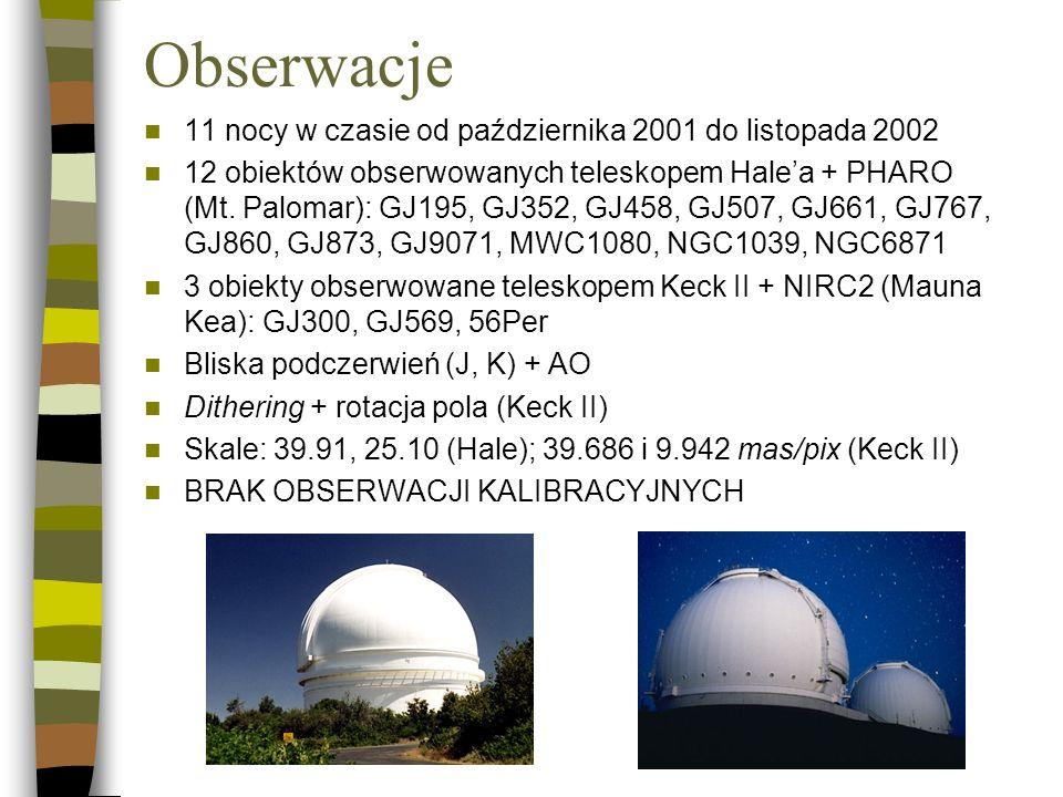 Obserwacje 11 nocy w czasie od października 2001 do listopada 2002 12 obiektów obserwowanych teleskopem Halea + PHARO (Mt. Palomar): GJ195, GJ352, GJ4