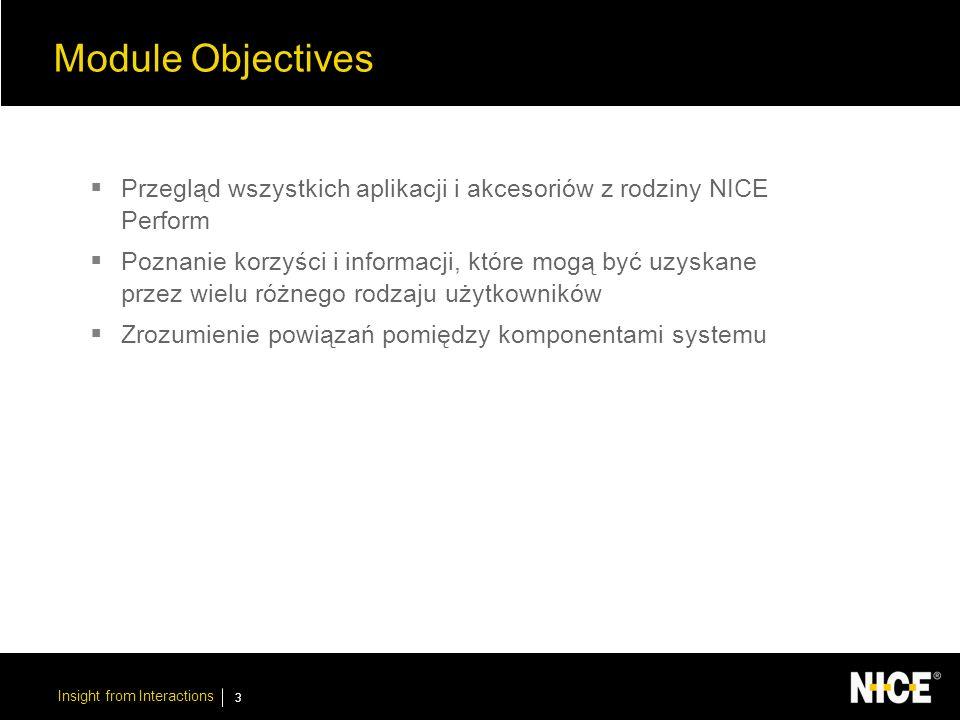 Insight from Interactions 3 Module Objectives Przegląd wszystkich aplikacji i akcesoriów z rodziny NICE Perform Poznanie korzyści i informacji, które mogą być uzyskane przez wielu różnego rodzaju użytkowników Zrozumienie powiązań pomiędzy komponentami systemu