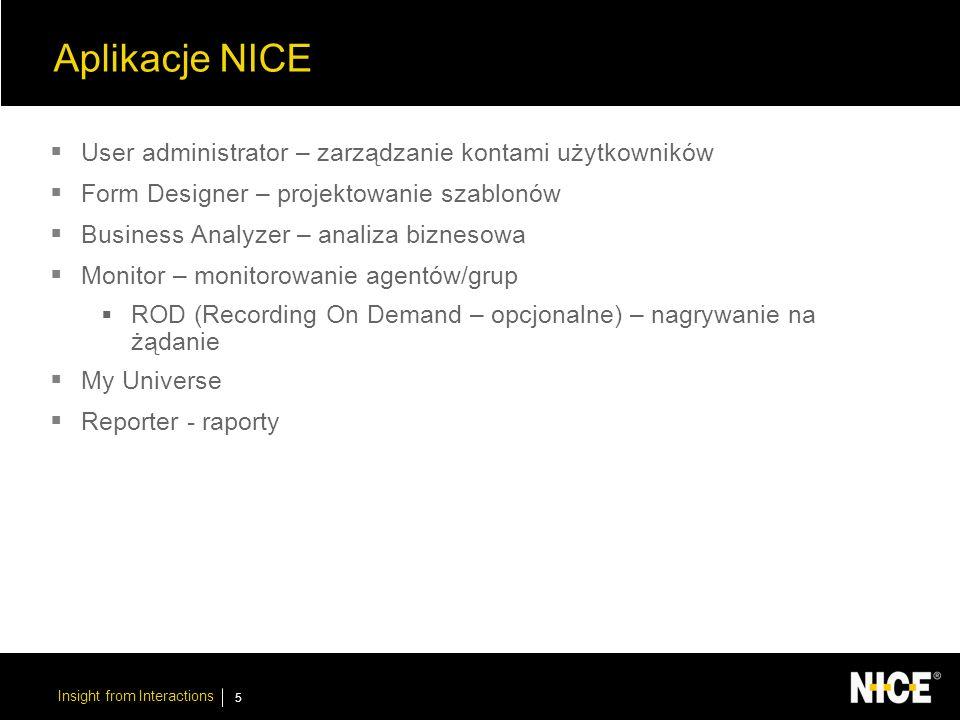 Insight from Interactions 6 Akcesoria NICE System Administrator – zarządzanie systemem Rules Manager – definiowanie reguł Lexicon Manager List Editor