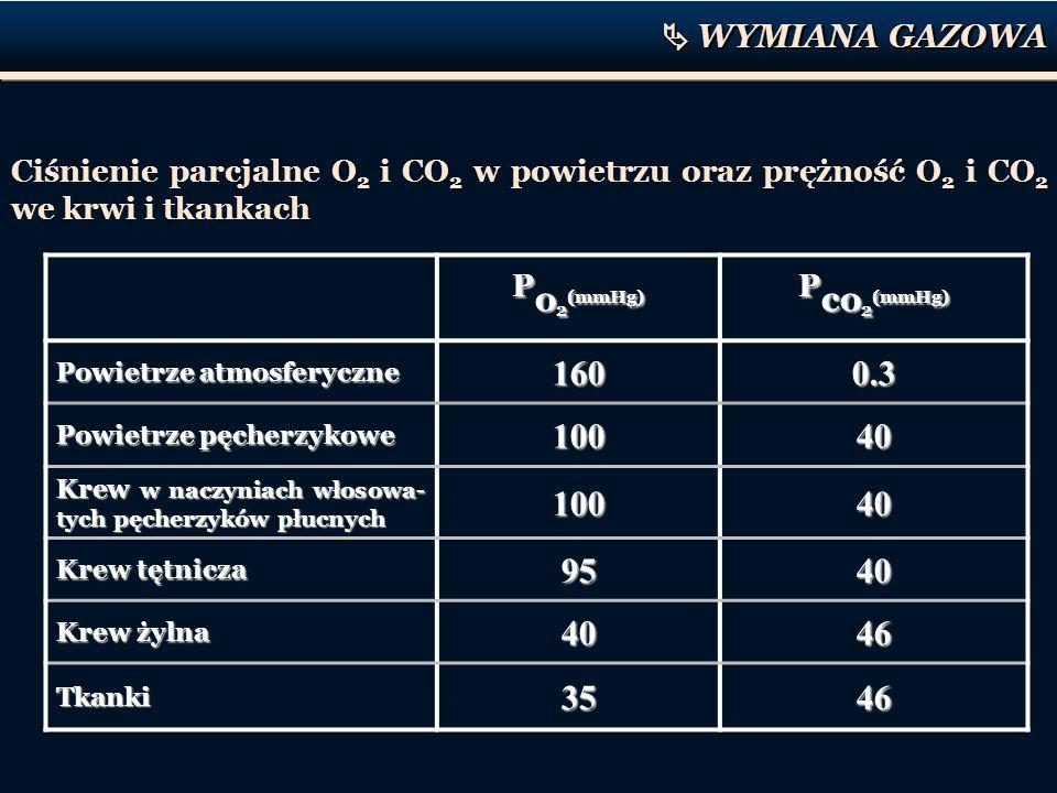 P o 2 (mmHg) P co 2 (mmHg) Powietrze atmosferyczne 1600.3 Powietrze pęcherzykowe 10040 Krew w naczyniach włosowa- tych pęcherzyków płucnych 10040 Krew